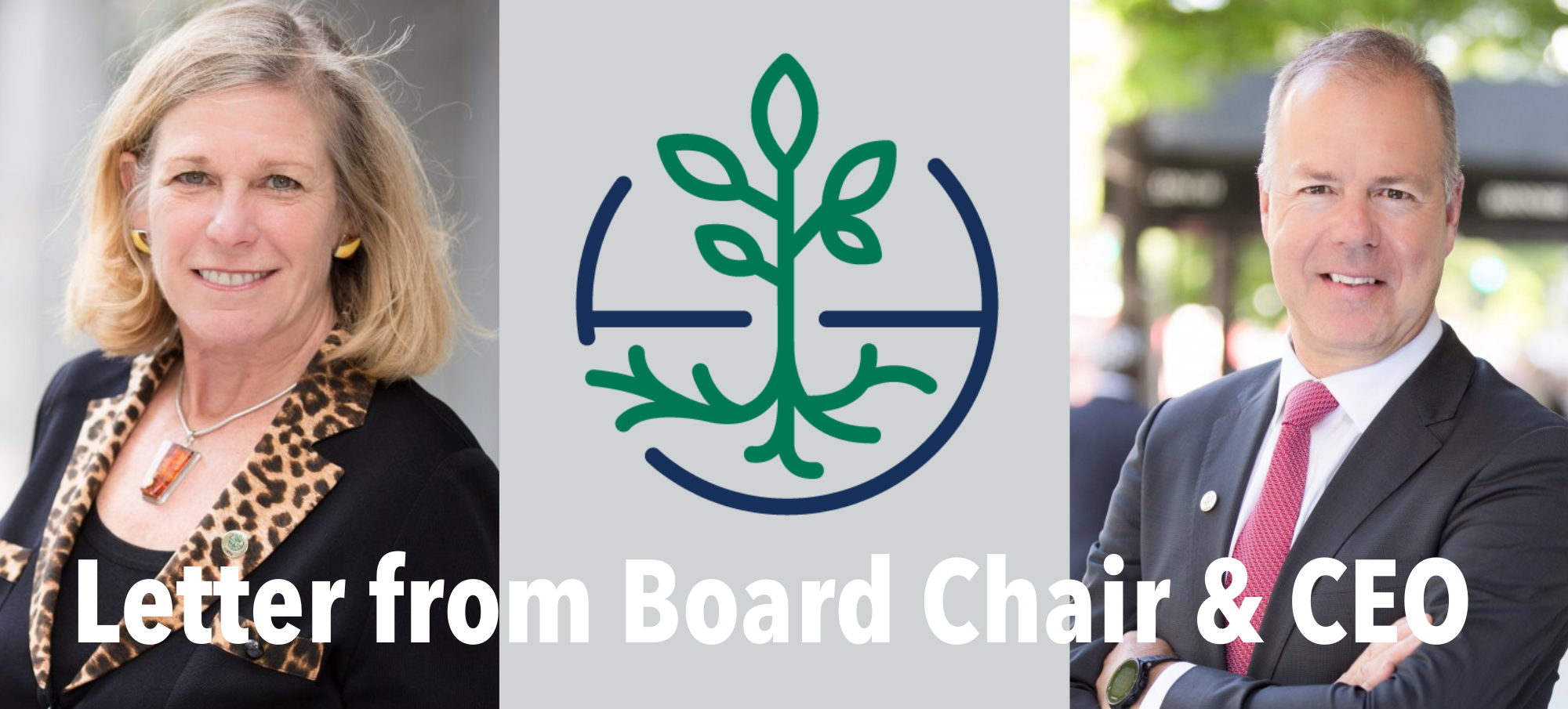 Board Chair Elin Miller, CNFA logo of a green plant and its roots and CNFA CEO & President Sylvain Roy